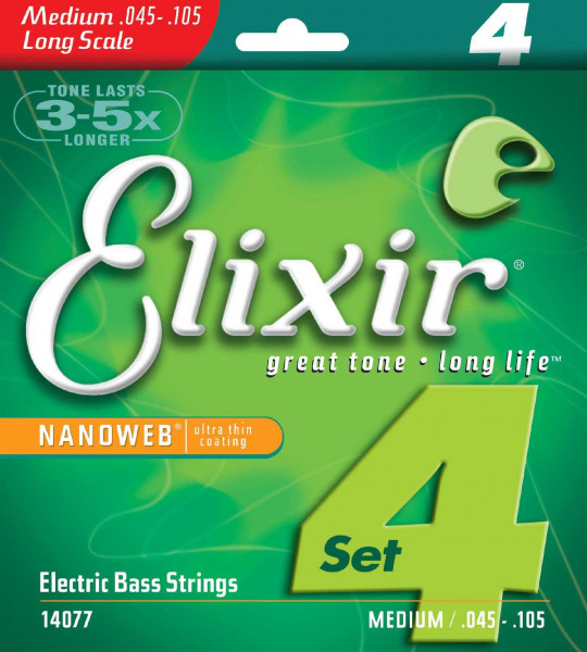 Elixir 14077 Nanoweb für E-Bass 045-105 Light Medium, Long Scale
